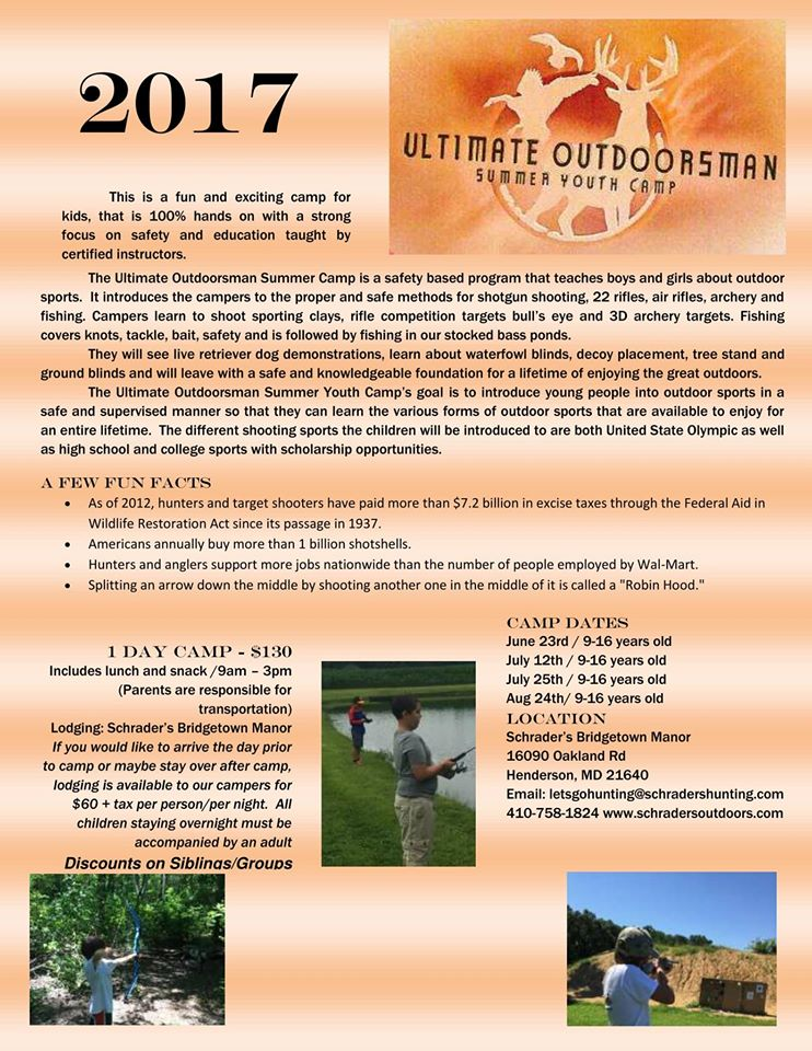 Schrader's Outdoors Ultimate Outdoorsman Summer Youth Camp